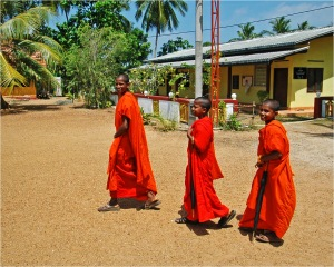Novice monks on their way to pirivena Many poor families place their sons with temples so that they can receive an education that they otherwise couldn't afford. Larger temples in an area will maintain a monks' school or pirivena. These 3 young novices walk about one mile each way to school and back each day.